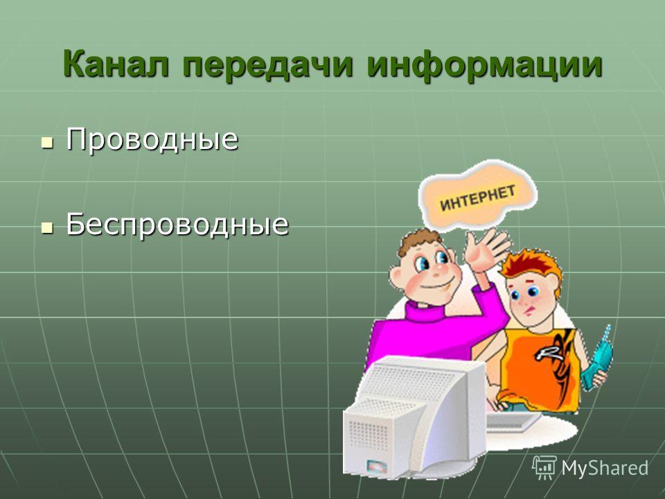 Канал передачи информации Проводные Проводные Беспроводные Беспроводные