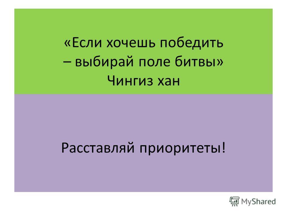 «Если хочешь победить – выбирай поле битвы» Чингиз хан Расставляй приоритеты!