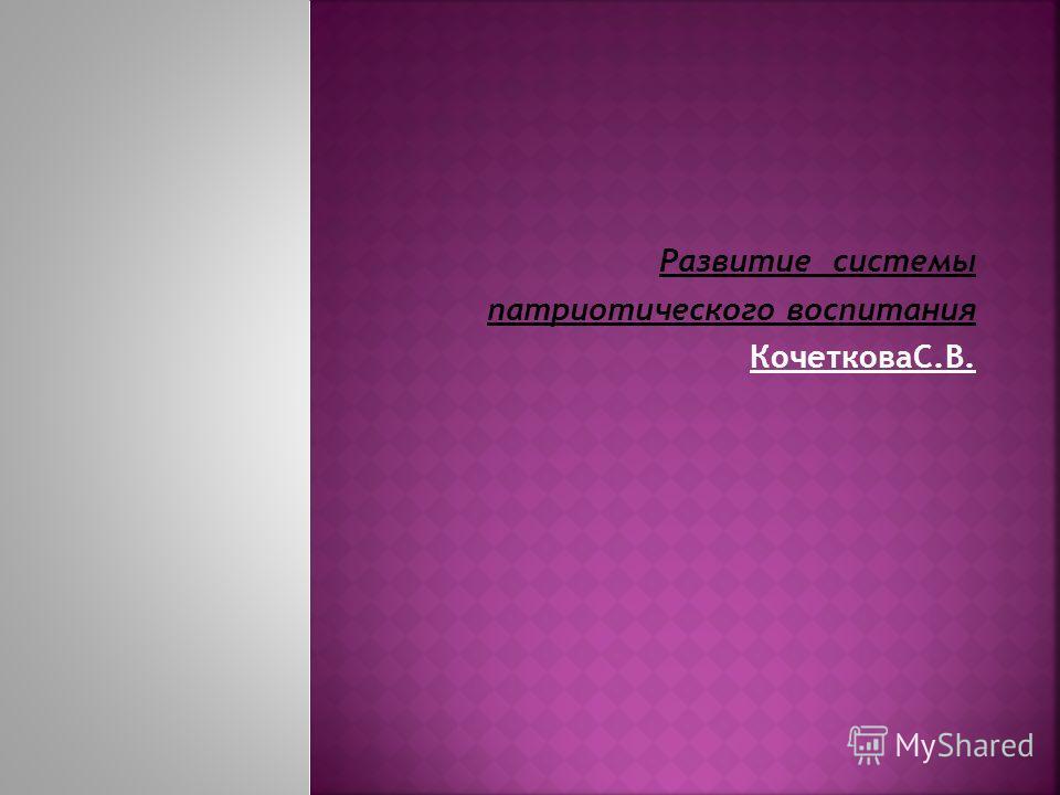 Развитие системы патриотического воспитания КочетковаС.В.
