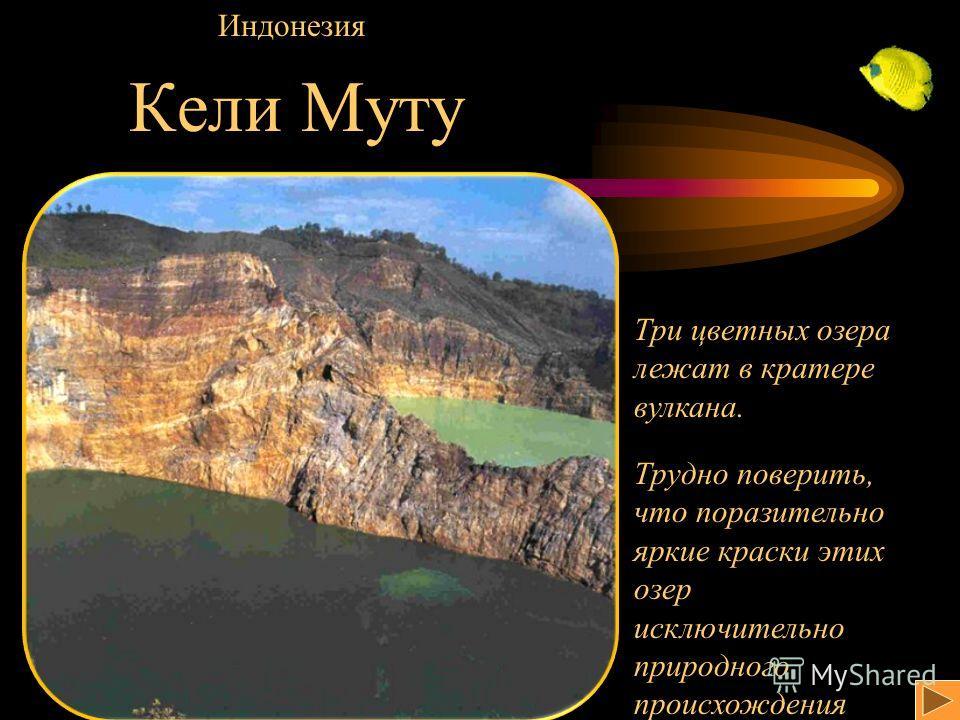 Кели Муту Индонезия Три цветных озера лежат в кратере вулкана. Трудно поверить, что поразительно яркие краски этих озер исключительно природного происхождения