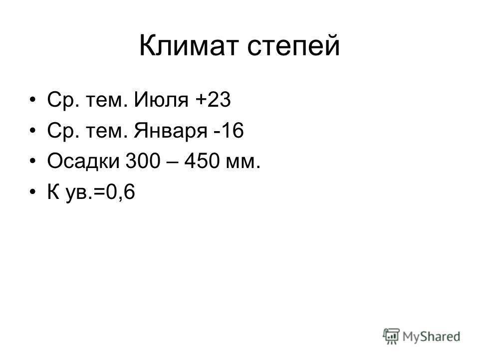 Климат степей Ср. тем. Июля +23 Ср. тем. Января -16 Осадки 300 – 450 мм. К ув.=0,6