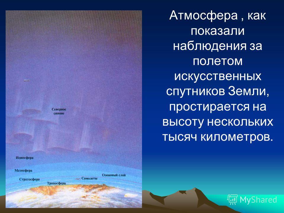 Атмосфера, как показали наблюдения за полетом искусственных спутников Земли, простирается на высоту нескольких тысяч километров.