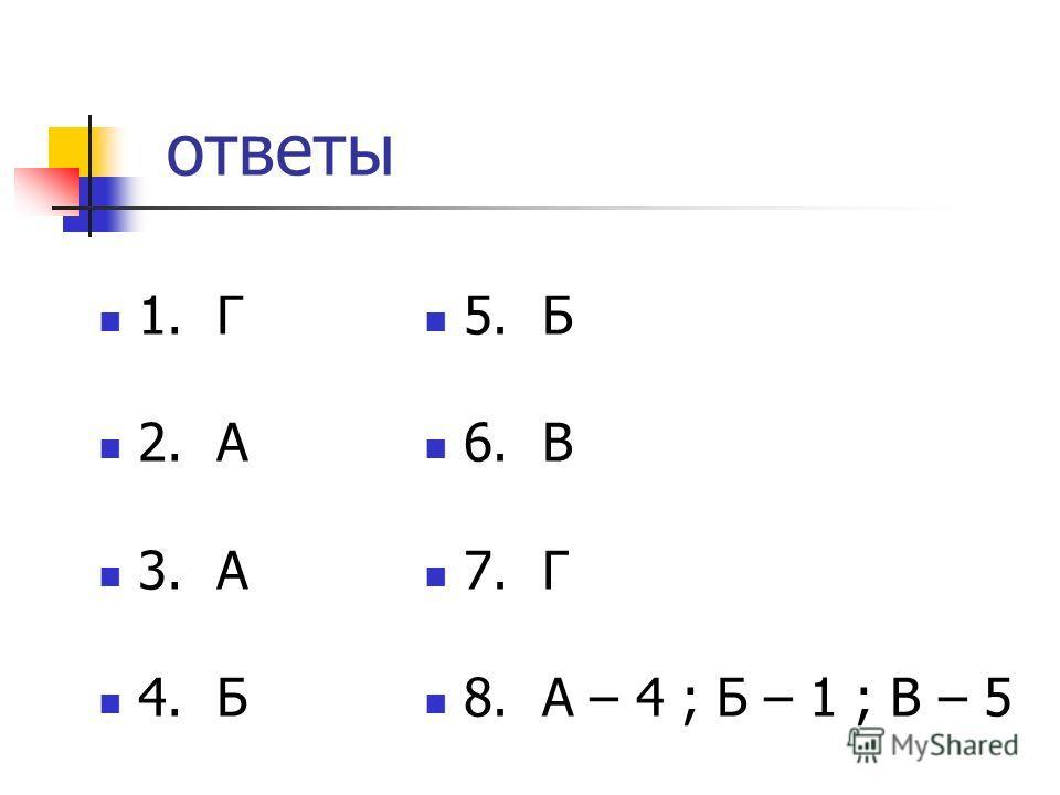 ответы 1. Г 2. А 3. А 4. Б 5. Б 6. В 7. Г 8. А – 4 ; Б – 1 ; В – 5