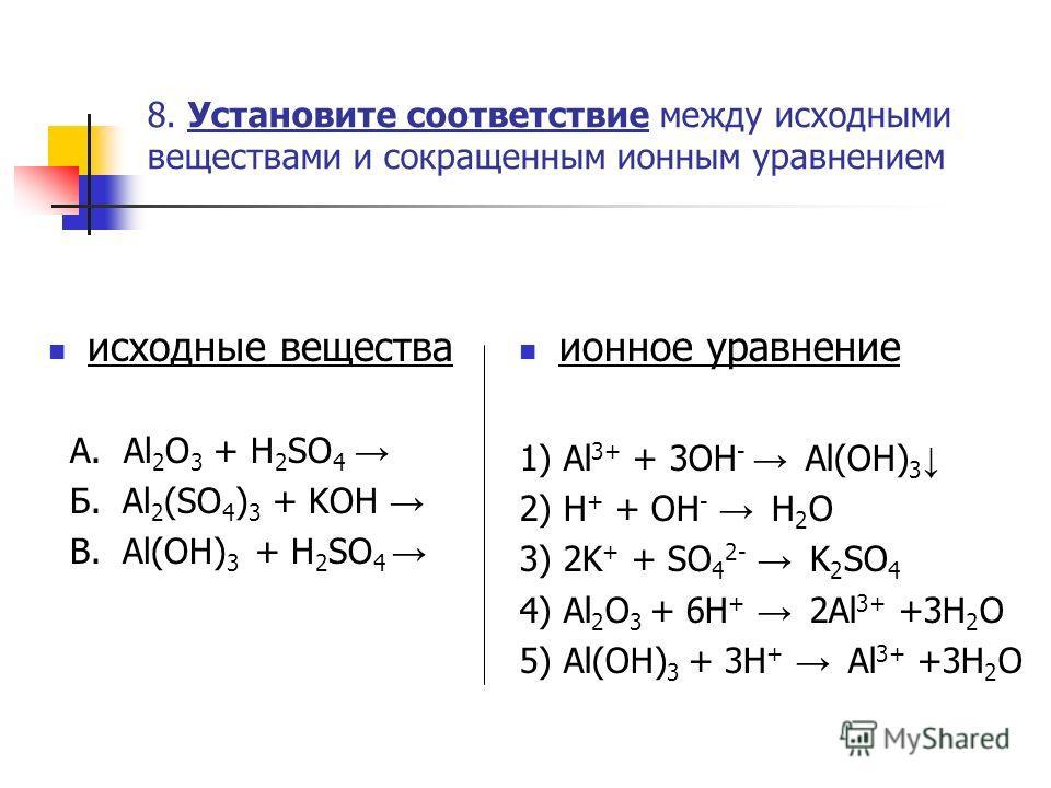 8. Установите соответствие между исходными веществами и сокращенным ионным уравнением исходные вещества А. Al 2 O 3 + H 2 SO 4 Б. Al 2 (SO 4 ) 3 + KOH В. Al(OH) 3 + H 2 SO 4 ионное уравнение 1) Al 3+ + 3OH - Al(OH) 3 2) H + + OH - H 2 O 3) 2K + + SO