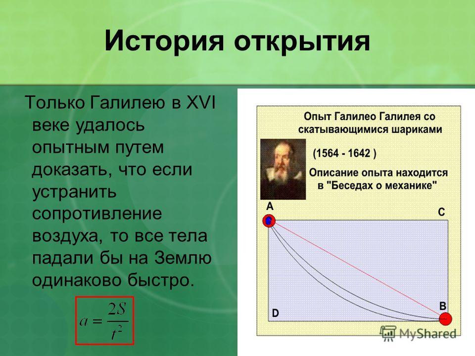 История открытия Только Галилею в XVI веке удалось опытным путем доказать, что если устранить сопротивление воздуха, то все тела падали бы на Землю одинаково быстро.