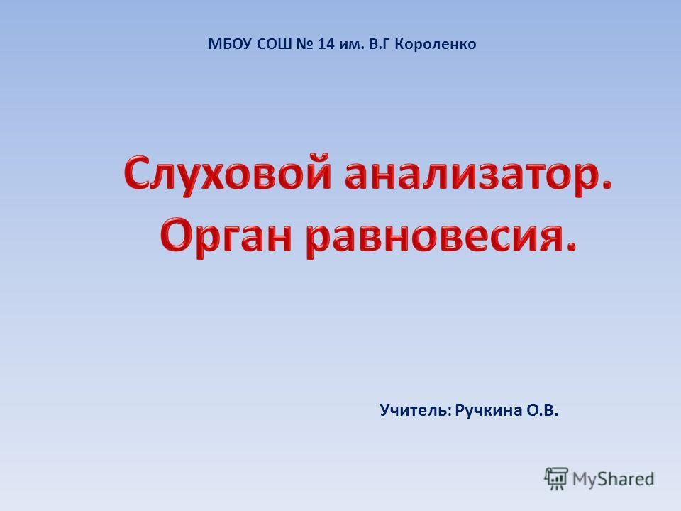 МБОУ СОШ 14 им. В.Г Короленко Учитель: Ручкина О.В.