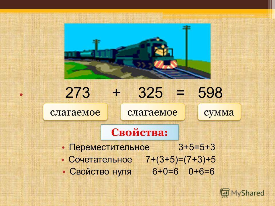 273 + 325 = 598 Переместительное 3+5=5+3 Сочетательное 7+(3+5)=(7+3)+5 Свойство нуля 6+0=6 0+6=6 сумма слагаемое Свойства: