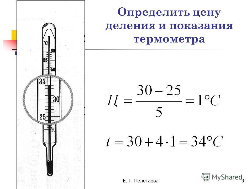 18.02.2014Е. Г. Полетаева9 Определить цену деления и показания термометра
