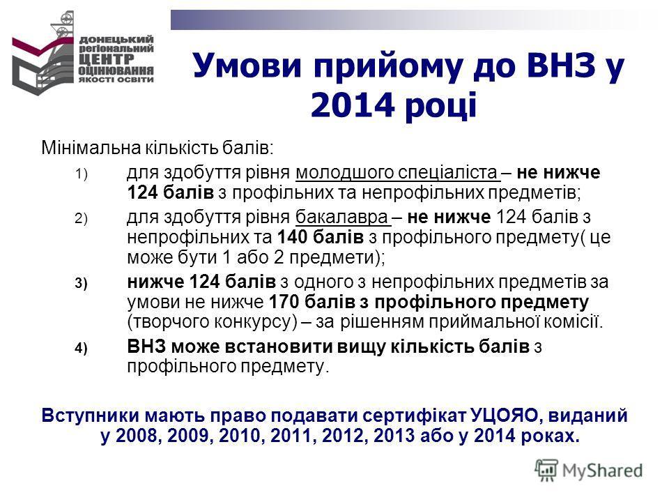 Умови прийому до ВНЗ у 2014 році Мінімальна кількість балів: 1) для здобуття рівня молодшого спеціаліста – не нижче 124 балів з профільних та непрофільних предметів; 2) для здобуття рівня бакалавра – не нижче 124 балів з непрофільних та 140 балів з п