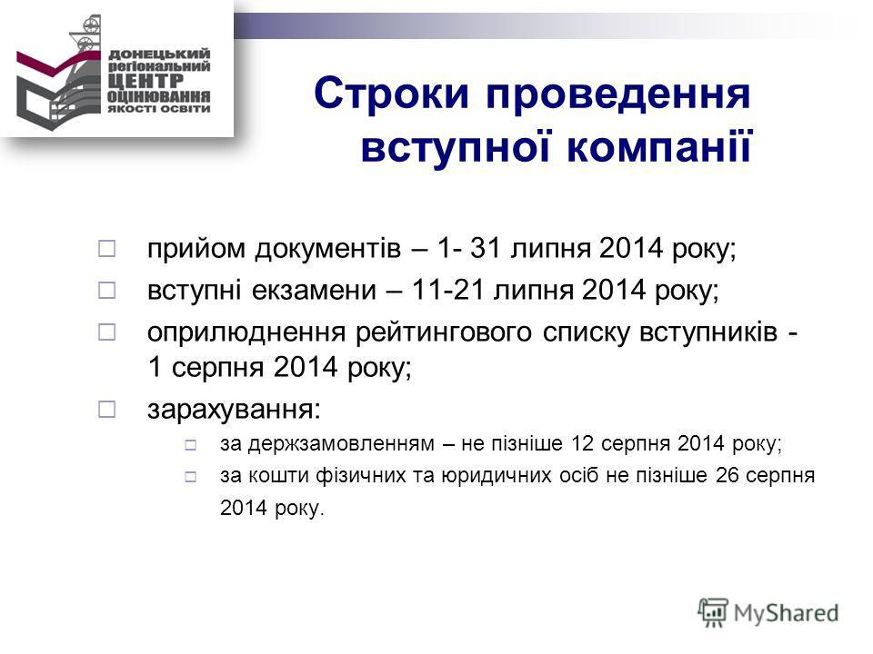 Строки проведення вступної компанії прийом документів – 1- 31 липня 2014 року; вступні екзамени – 11-21 липня 2014 року; оприлюднення рейтингового списку вступників - 1 серпня 2014 року; зарахування: за держзамовленням – не пізніше 12 серпня 2014 рок