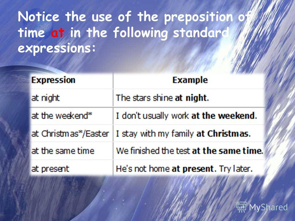 Notice the use of the preposition of time at in the following standard expressions:
