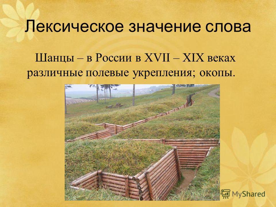 Лексическое значение слова Шанцы – в России в XVII – XIX веках различные полевые укрепления; окопы.