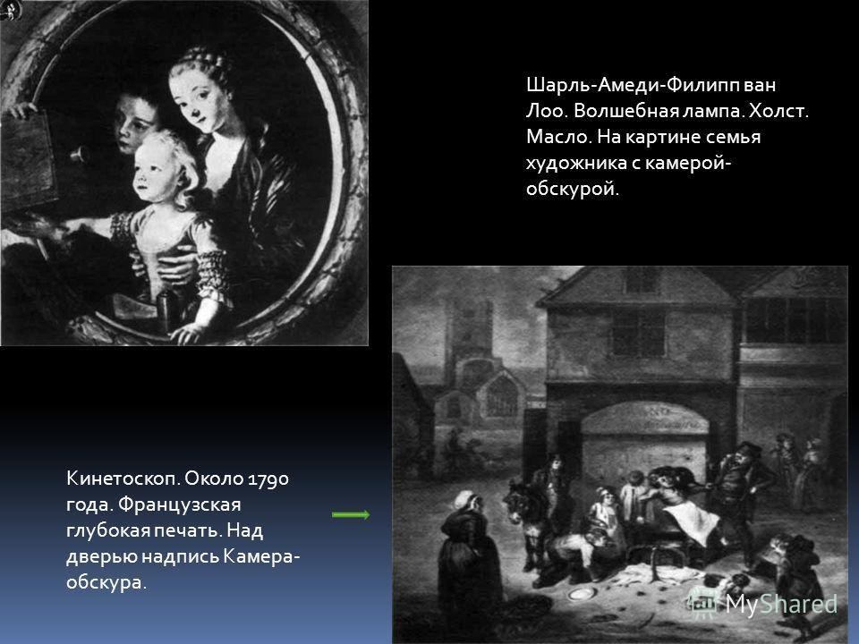 Шарль-Амеди-Филипп ван Лоо. Волшебная лампа. Холст. Масло. На картине семья художника с камерой- обскурой. Кинетоскоп. Около 1790 года. Французская глубокая печать. Над дверью надпись Камера- обскура.