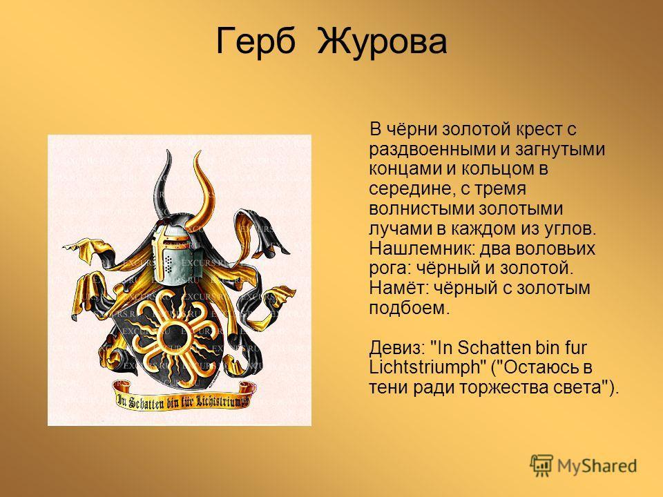 Герб Журова В чёрни золотой крест с раздвоенными и загнутыми концами и кольцом в середине, с тремя волнистыми золотыми лучами в каждом из углов. Нашлемник: два воловьих рога: чёрный и золотой. Намёт: чёрный с золотым подбоем. Девиз: