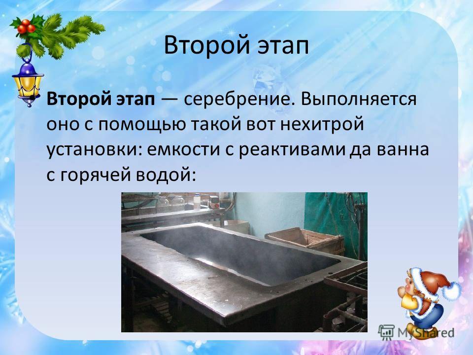 Второй этап Второй этап серебрение. Выполняется оно с помощью такой вот нехитрой установки: емкости с реактивами да ванна с горячей водой: