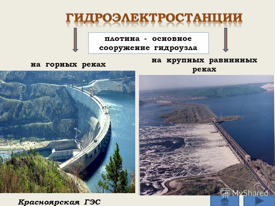 на горных реках Красноярская ГЭС на крупных равнинных реках плотина - основное сооружение гидроузла