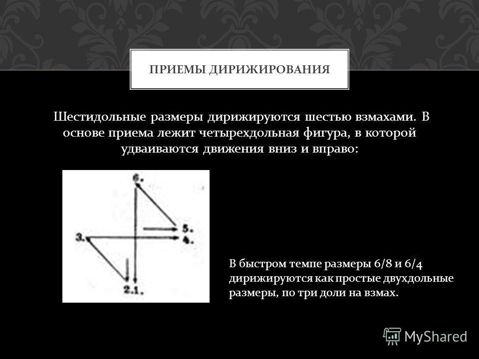 Шестидольные размеры дирижируются шестью взмахами. В основе приема лежит четырехдольная фигура, в которой удваиваются движения вниз и вправо : ПРИЕМЫ ДИРИЖИРОВАНИЯ В быстром темпе размеры 6/8 и 6/4 дирижируются как простые двухдольные размеры, по три