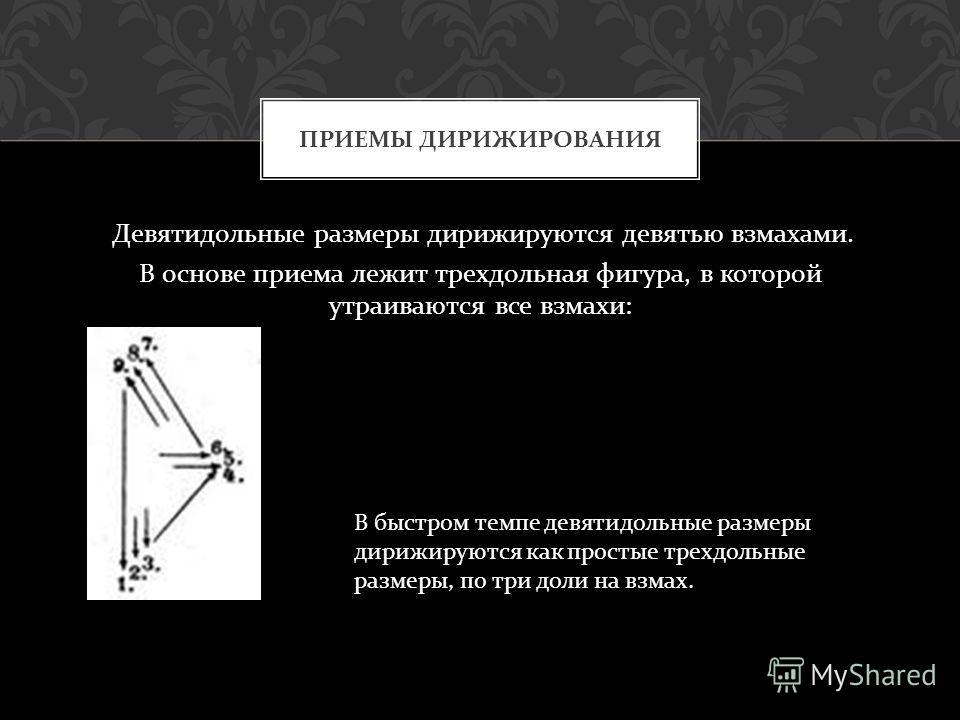 Девятидольные размеры дирижируются девятью взмахами. В основе приема лежит трехдольная фигура, в которой утраиваются все взмахи : ПРИЕМЫ ДИРИЖИРОВАНИЯ В быстром темпе девятидольные размеры дирижируются как простые трехдольные размеры, по три доли на