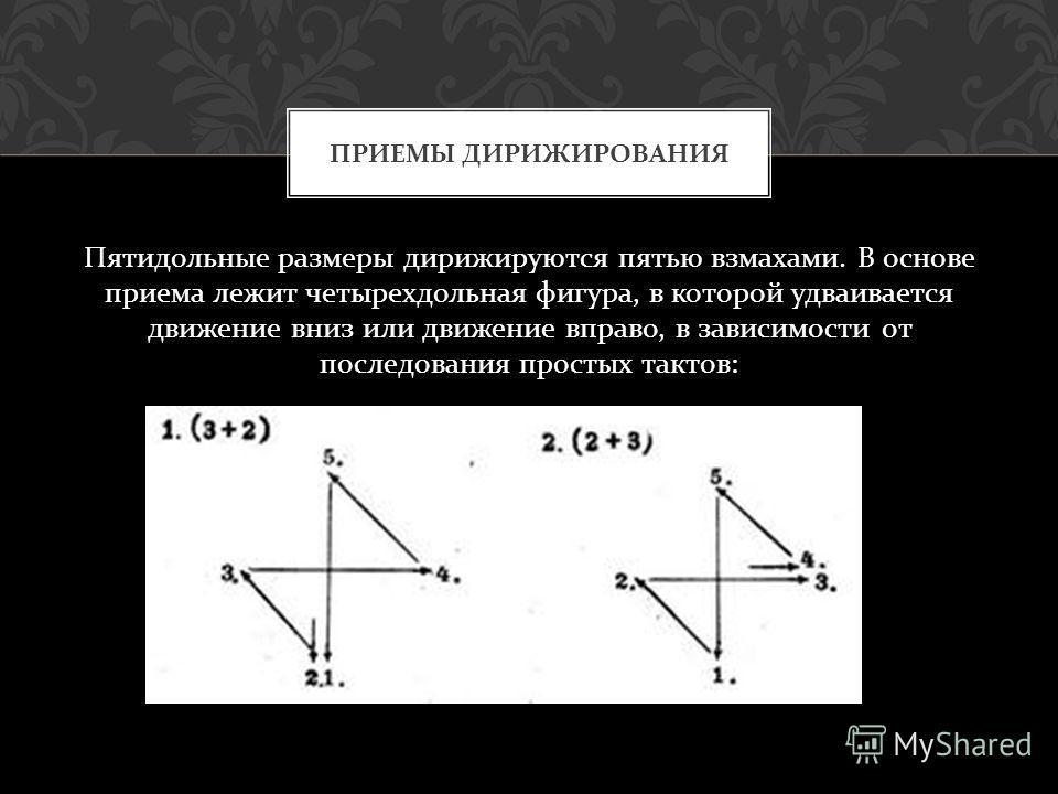 Пятидольные размеры дирижируются пятью взмахами. В основе приема лежит четырехдольная фигура, в которой удваивается движение вниз или движение вправо, в зависимости от последования простых тактов : ПРИЕМЫ ДИРИЖИРОВАНИЯ