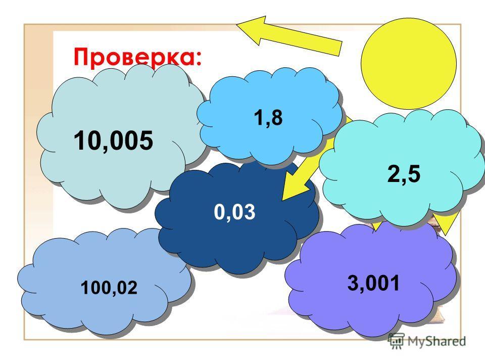 Проверка: 10,005 100,02 0,03 0,03 3,001 3,001 1,8 2,5 2,5