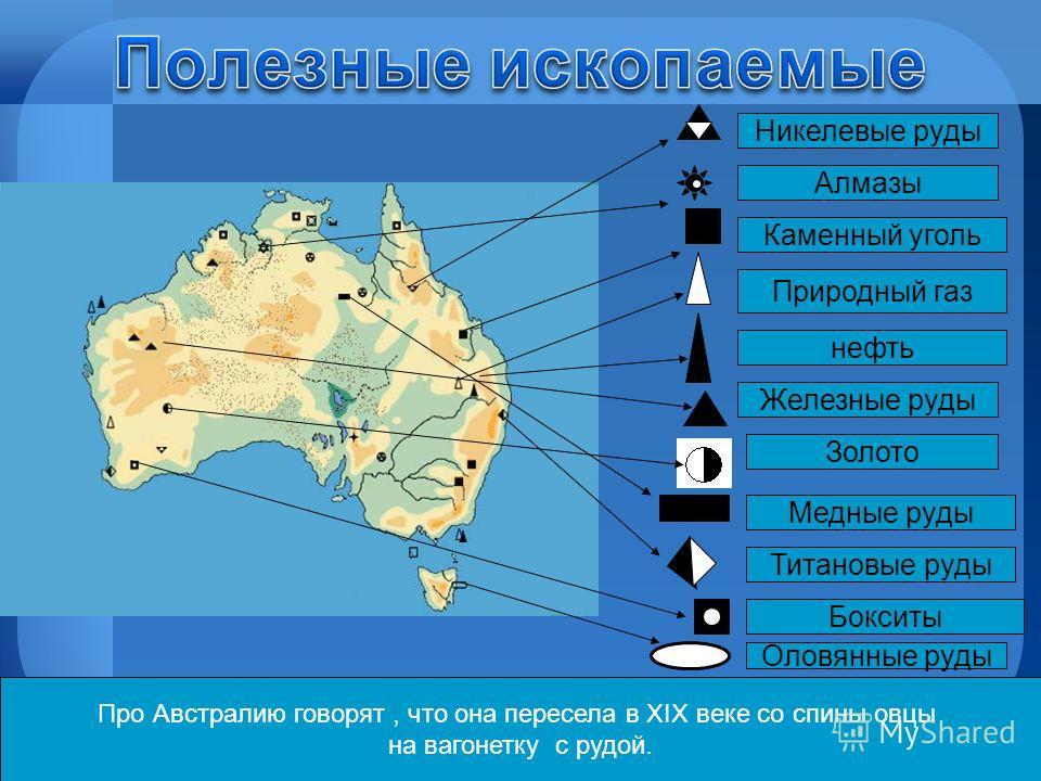 Про Австралию говорят, что она пересела в ХIХ веке со спины овцы на вагонетку с рудой. Каменный уголь Природный газ нефть Железные руды Золото Медные руды Титановые руды Алмазы Бокситы Оловянные руды Никелевые руды
