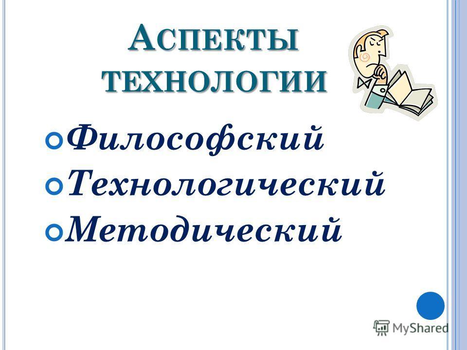 А СПЕКТЫ ТЕХНОЛОГИИ Философский Технологический Методический