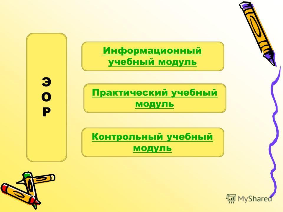 Информационный учебный модуль Практический учебный модуль Контрольный учебный модуль ЭОРЭОР