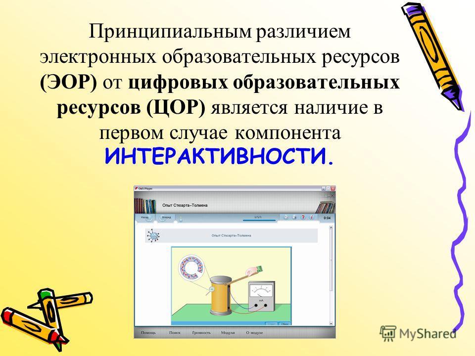 Принципиальным различием электронных образовательных ресурсов (ЭОР) от цифровых образовательных ресурсов (ЦОР) является наличие в первом случае компонента ИНТЕРАКТИВНОСТИ.