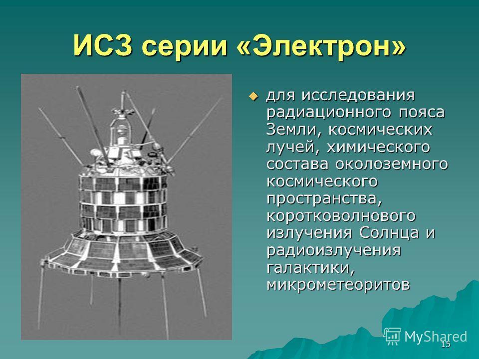 15 ИСЗ серии «Электрон» для исследования радиационного пояса Земли, космических лучей, химического состава околоземного космического пространства, коротковолнового излучения Солнца и радиоизлучения галактики, микрометеоритов для исследования радиацио