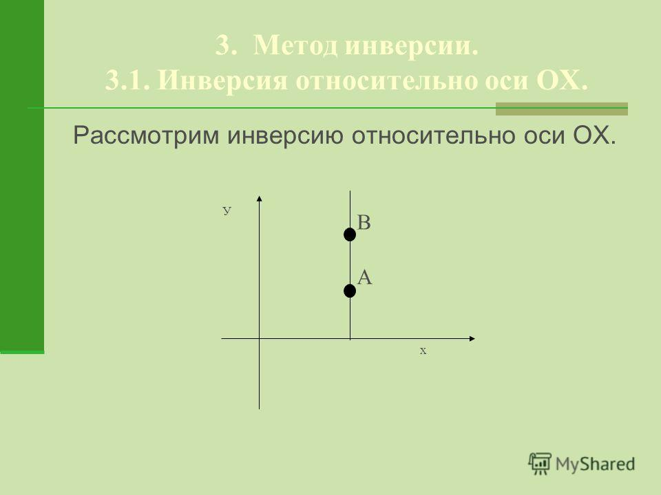 3. Метод инверсии. 3.1. Инверсия относительно оси ОХ. Рассмотрим инверсию относительно оси ОХ. В А х У
