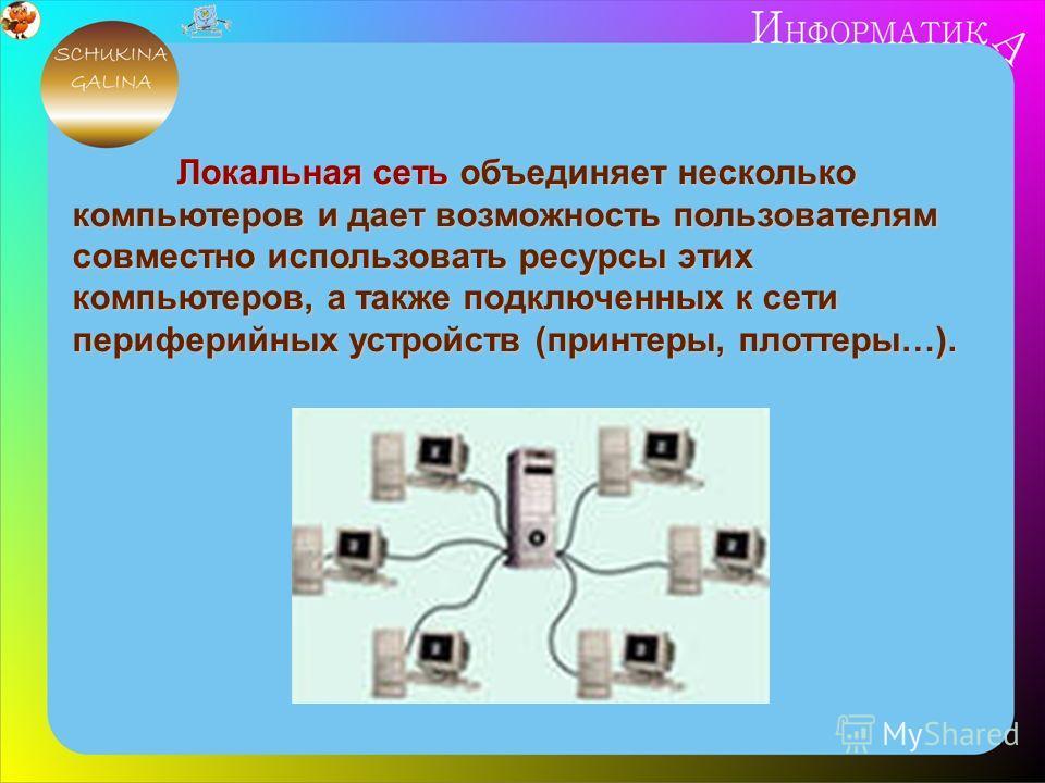 Локальная сеть объединяет несколько компьютеров и дает возможность пользователям совместно использовать ресурсы этих компьютеров, а также подключенных к сети периферийных устройств (принтеры, плоттеры…).