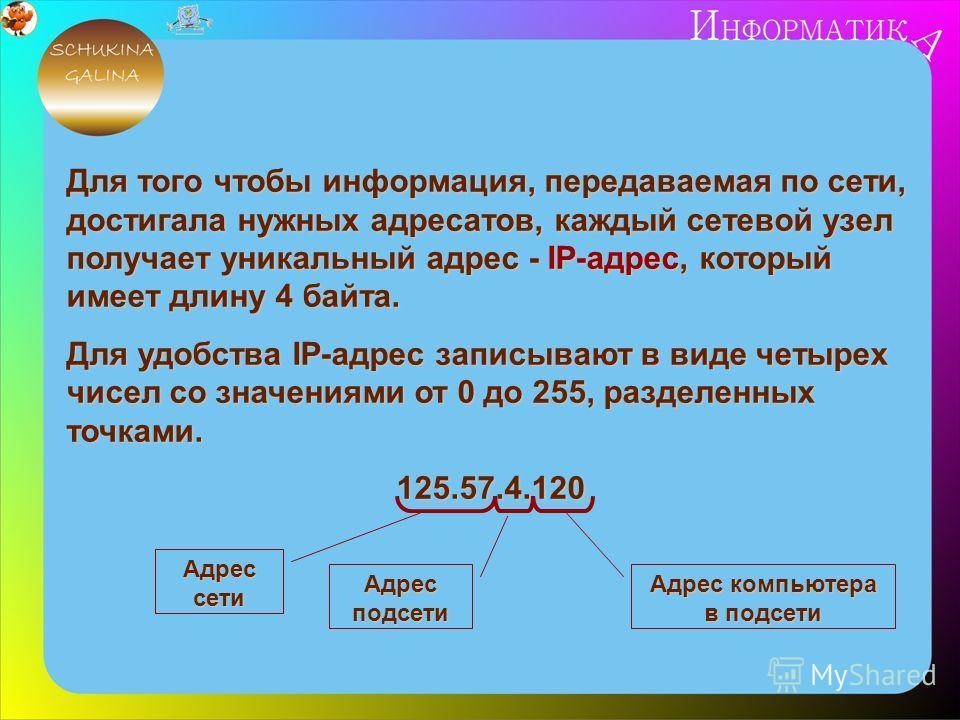 Для того чтобы информация, передаваемая по сети, достигала нужных адресатов, каждый сетевой узел получает уникальный адрес - IP-адрес, который имеет длину 4 байта. Для удобства IP-адрес записывают в виде четырех чисел со значениями от 0 до 255, разде