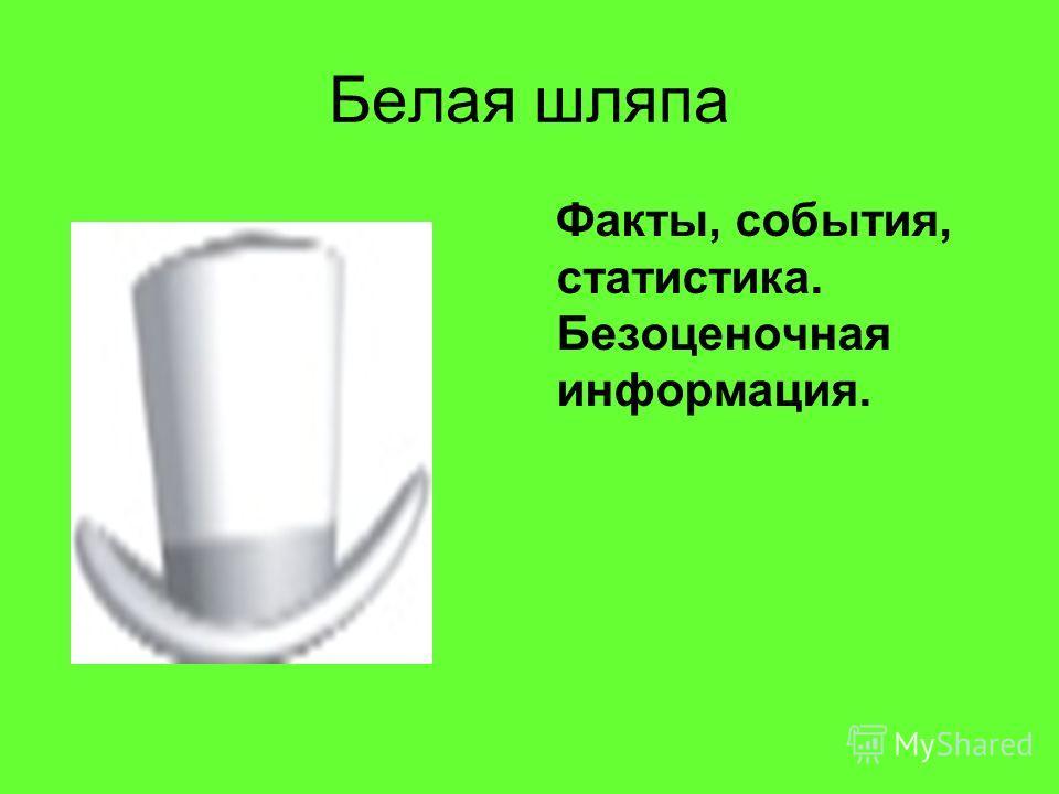 Белая шляпа Факты, события, статистика. Безоценочная информация.