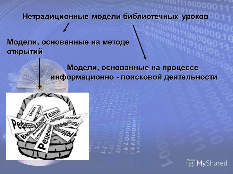 Нетрадиционные модели библиотечных уроков Модели, основанные на методе открытий Модели, основанные на процессе информационно - поисковой деятельности информационно - поисковой деятельности