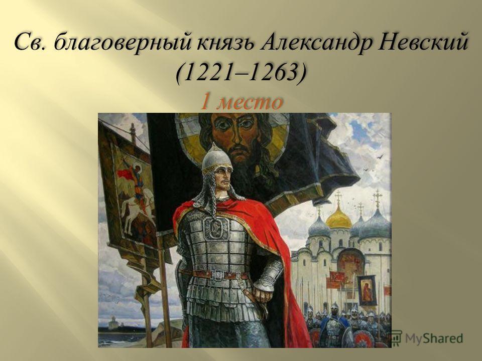 Св. благоверный князь Александр Невский (1221–1263) 1 место Св. благоверный князь Александр Невский (1221–1263) 1 место