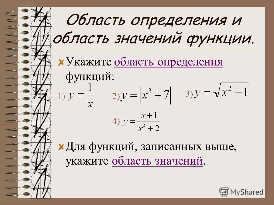Область определения и область значений функции. Укажите область определения функций:область определения Для функций, записанных выше, укажите область значений.область значений 1)2) 3) 4)