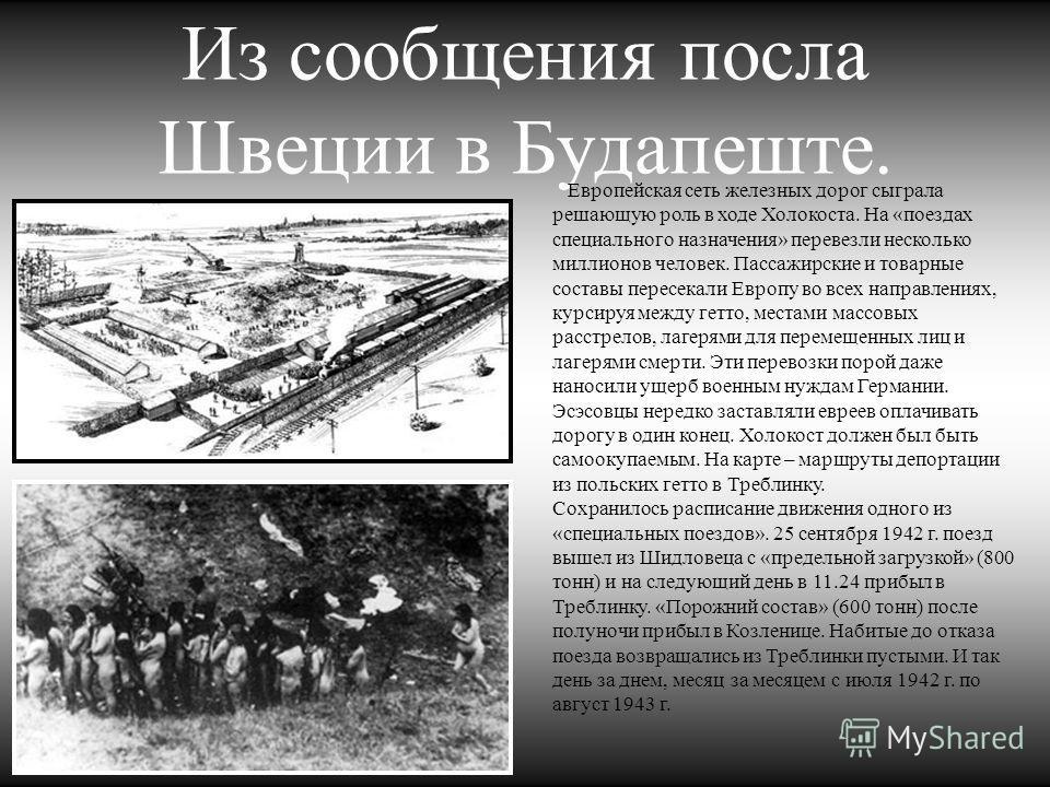 Из сообщения посла Швеции в Будапеште. Европейская сеть железных дорог сыграла решающую роль в ходе Холокоста. На «поездах специального назначения» перевезли несколько миллионов человек. Пассажирские и товарные составы пересекали Европу во всех напра
