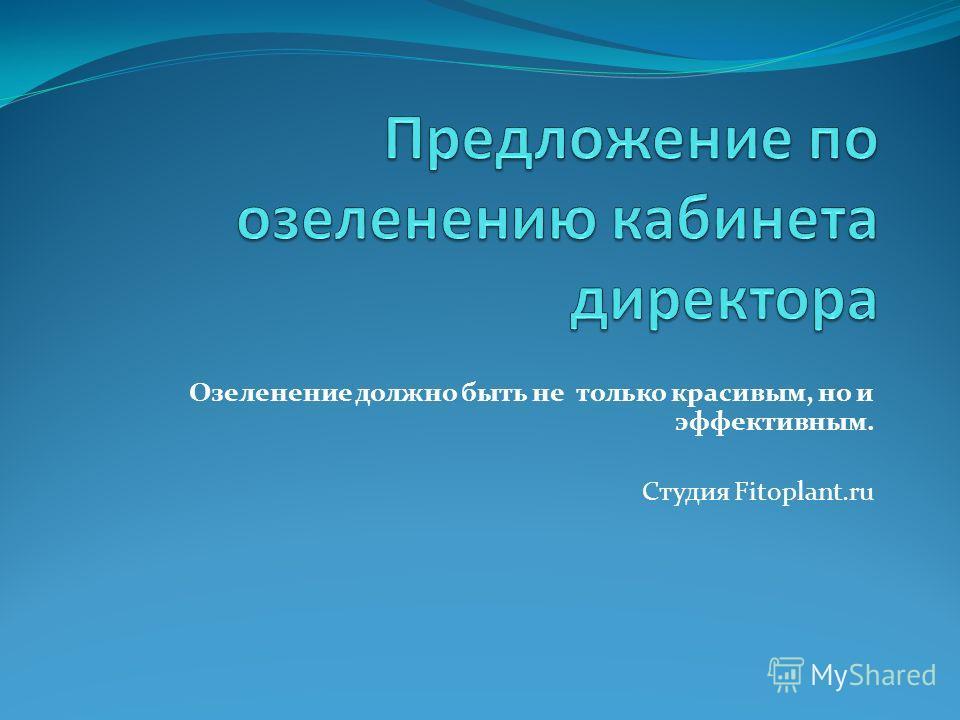 Озеленение должно быть не только красивым, но и эффективным. Студия Fitoplant.ru