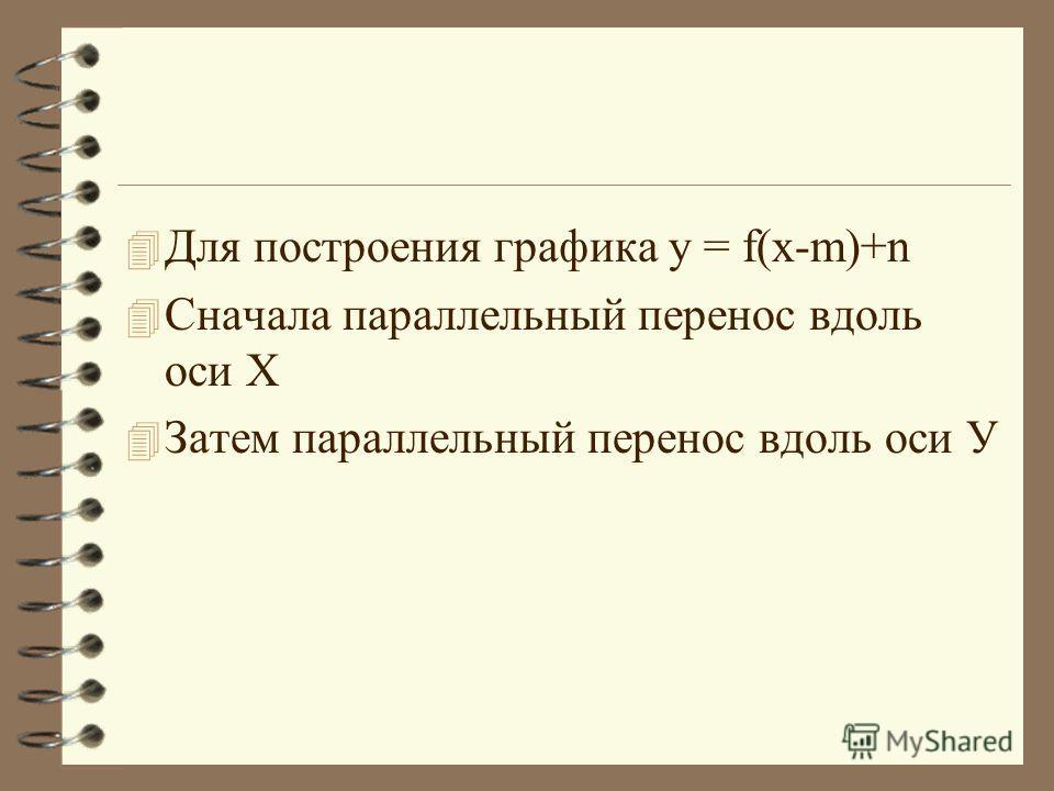 4 Для построения графика у = f(x-m)+n 4 Сначала параллельный перенос вдоль оси Х 4 Затем параллельный перенос вдоль оси У