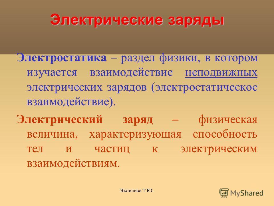 Яковлева Т.Ю. Электрические заряды Электрические заряды Электростатика – раздел физики, в котором изучается взаимодействие неподвижных электрических зарядов (электростатическое взаимодействие). Электрический заряд – физическая величина, характеризующ