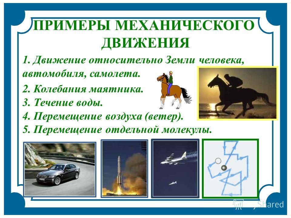 2. Колебания маятника. 3. Течение воды. 4. Перемещение воздуха (ветер). 5. Перемещение отдельной молекулы. ПРИМЕРЫ МЕХАНИЧЕСКОГО ДВИЖЕНИЯ 1. Движение относительно Земли человека, автомобиля, самолета.