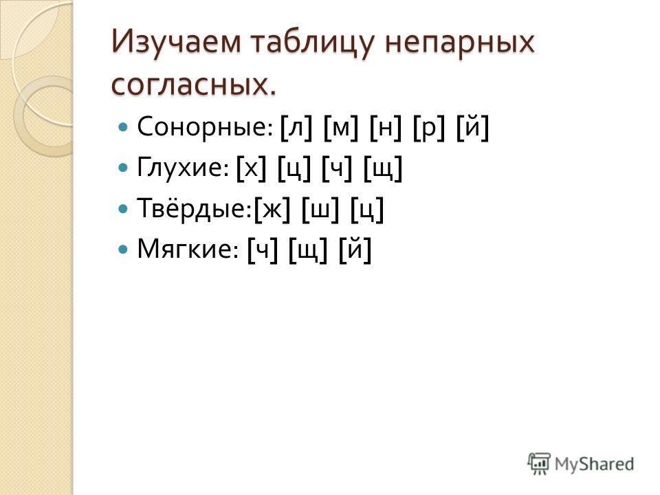 Изучаем таблицу непарных согласных. Сонорные : [ л ] [ м ] [ н ] [ р ] [ й ] Глухие : [ х ] [ ц ] [ ч ] [ щ ] Твёрдые :[ ж ] [ ш ] [ ц ] Мягкие : [ ч ] [ щ ] [ й ]