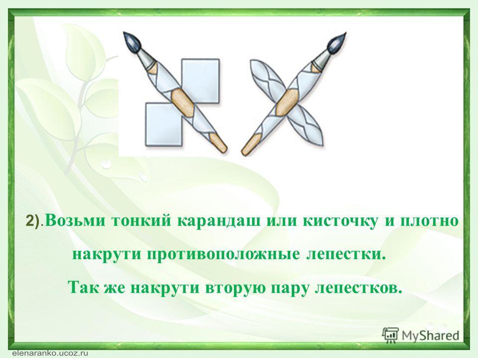 2). Возьми тонкий карандаш или кисточку и плотно накрути противоположные лепестки. Так же накрути вторую пару лепестков.