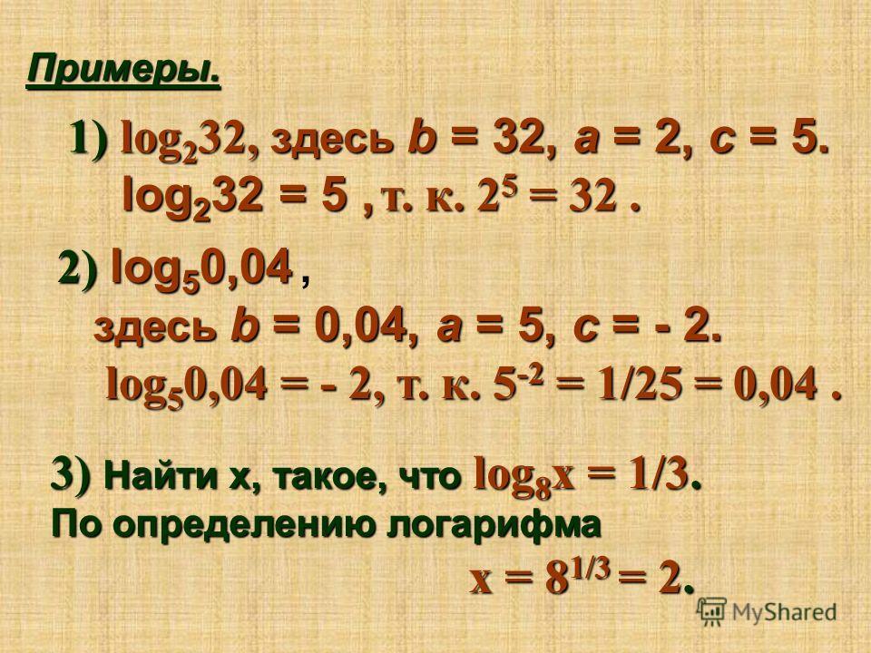 Примеры. 1) l og232, здесь b = 32, a = 2, c = 5. log232 = 5, т. к. 25 = 32. 2) l og50,04, здесь b = 0,04, a = 5, c = - 2. log50,04 = - 2, т. к. 5-2 = 1/25 = 0,04. 3) Н айти х, такое, что log8х = 1/3. По определению логарифма х = 81/3 = 2.