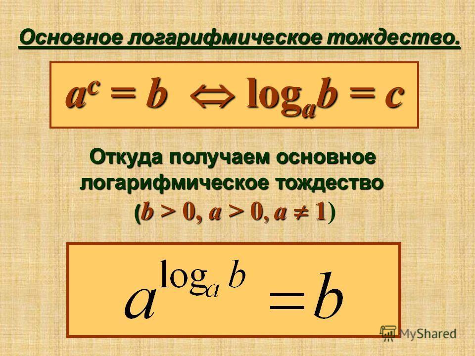 Основное логарифмическое тождество. a c = b log a b = c Откуда получаем основное логарифмическое тождество ( b > 0, a > 0, a 1 ( b > 0, a > 0, a 1)