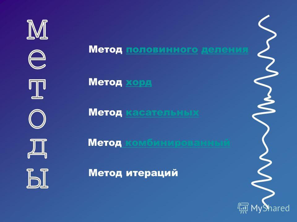 Метод касательных Метод половинного деления Метод хорд Метод комбинированный Метод итераций