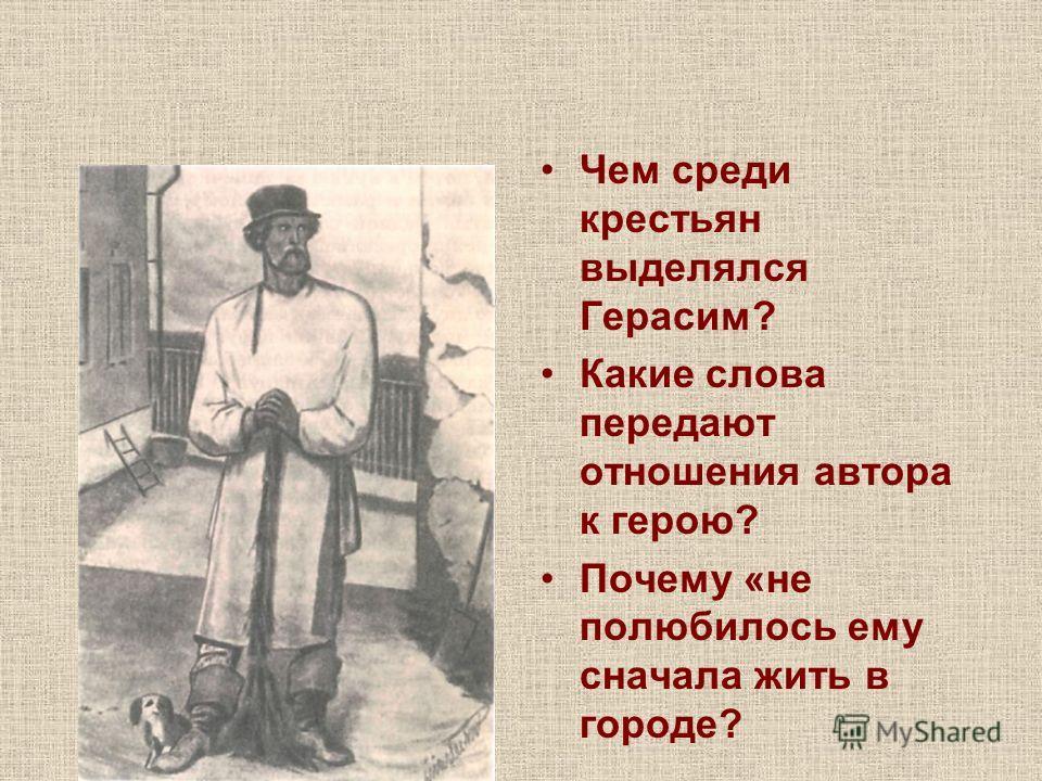 Чем среди крестьян выделялся Герасим? Какие слова передают отношения автора к герою? Почему «не полюбилось ему сначала жить в городе?