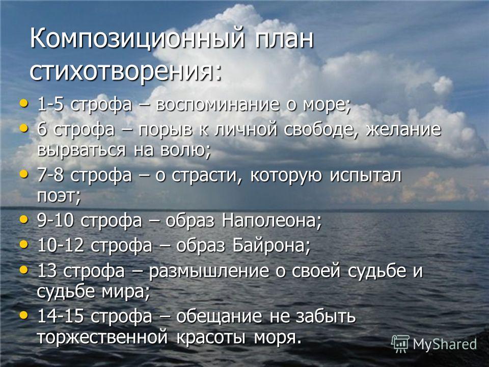 Композиционный план стихотворения: 1-5 строфа – воспоминание о море; 1-5 строфа – воспоминание о море; 6 строфа – порыв к личной свободе, желание вырваться на волю; 6 строфа – порыв к личной свободе, желание вырваться на волю; 7-8 строфа – о страсти,