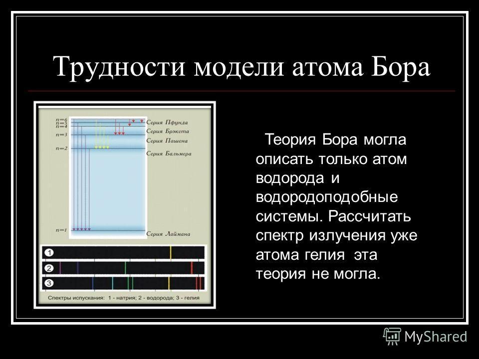 Трудности модели атома Бора Теория Бора могла описать только атом водорода и водородоподобные системы. Рассчитать спектр излучения уже атома гелия эта теория не могла.