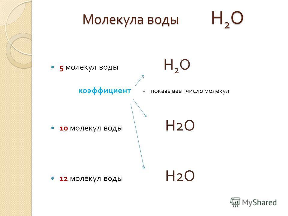 Молекула воды Н 2 О 5 молекул воды Н 2 О коэффициент - показывает число молекул 10 молекул воды Н 2 О 12 молекул воды Н 2 О